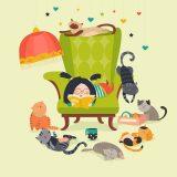 本を読む女の子と猫