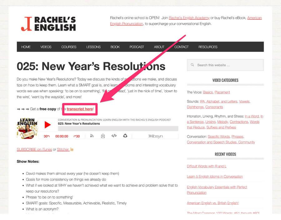 Rachel's Englishスクリプトダウンロード画面
