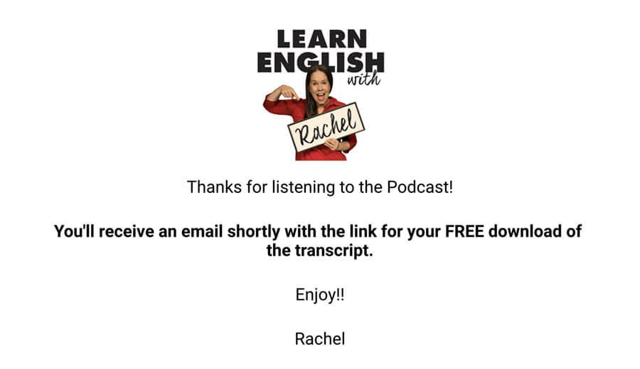 Rachel's English メール送信完了画面